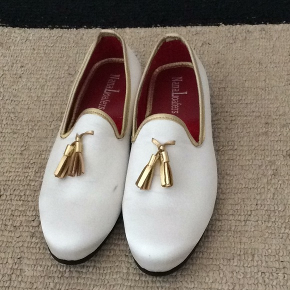 Men White Leather Gold Loafers Shoes